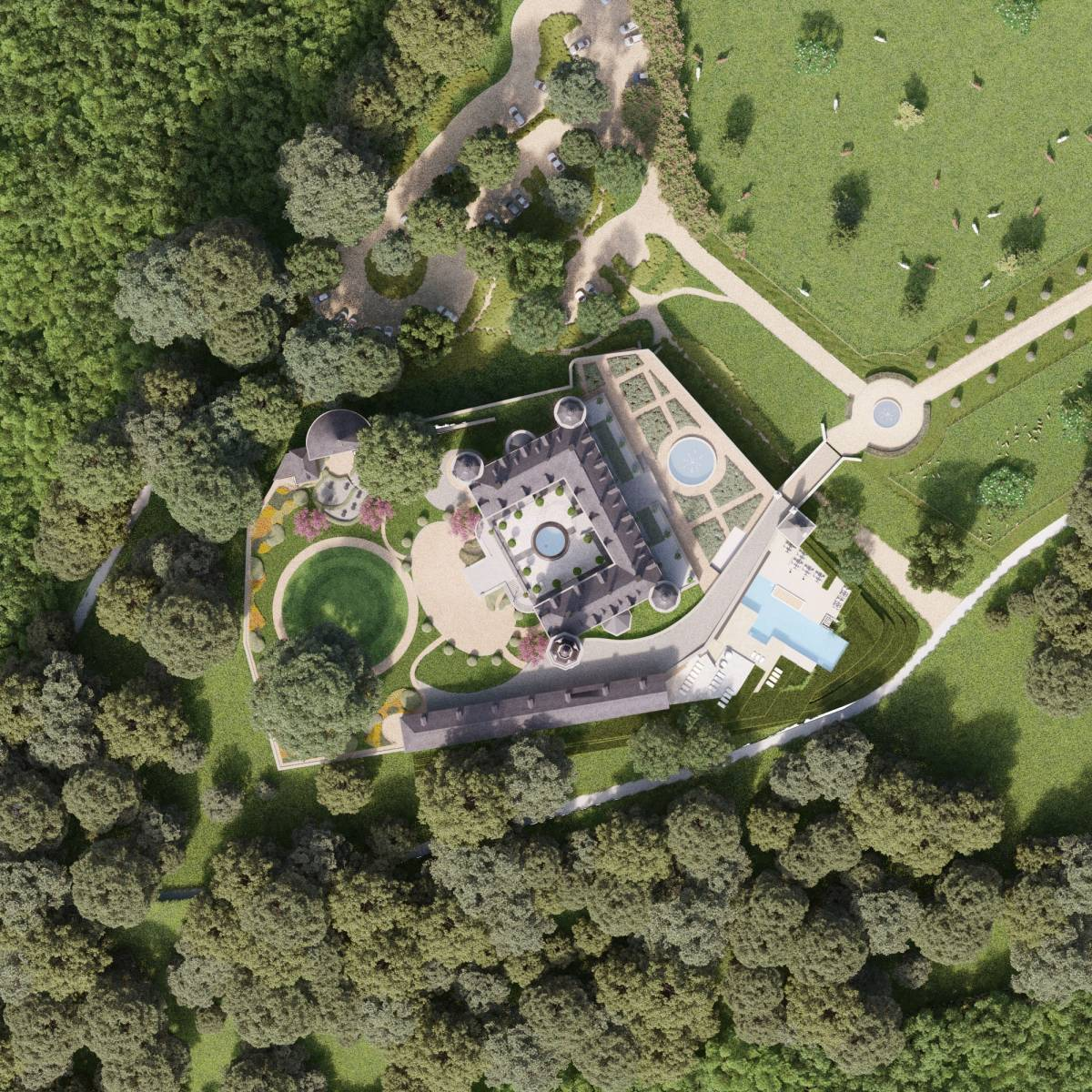 Château de Mirwart_bovenaanzicht